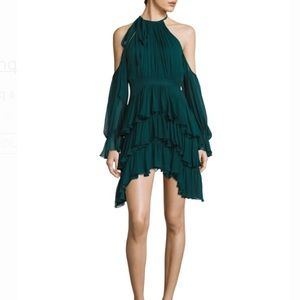 Cinq a Sept. Green Elsa Ruffle Dress. Size 4